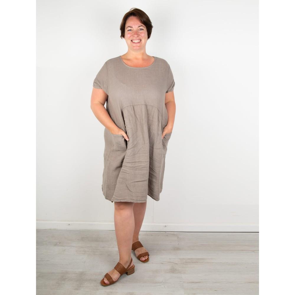 Amazing Woman Curve Lexia Curve Linen Dress Fango