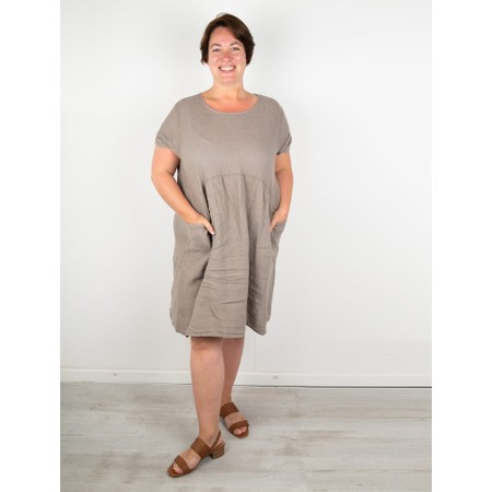 Amazing Woman Curve Lexia Curve Linen Dress - Brown