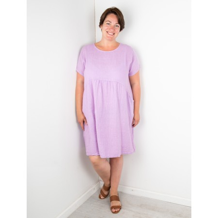 Amazing Woman Curve Lexia Curve Linen Dress - Purple