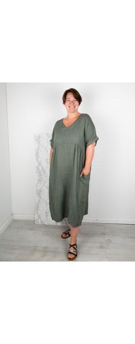 Amazing Woman Curve Tesa Curve Midi Dress Khaki