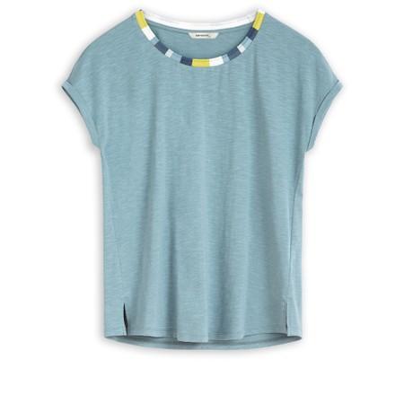 Sandwich Clothing Short Sleeve  Stripe Neckline T-Shirt - Blue