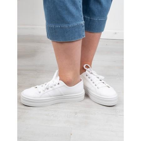 Victoria Shoes Barcelona Flatform Cotton Canvas Washable Sneaker - White