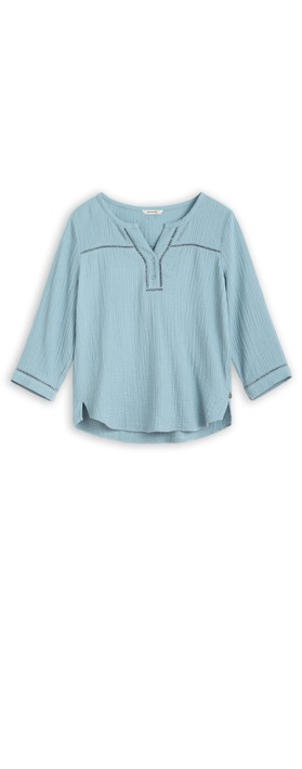 Sandwich Clothing Long Sleeve Embroidered Blouse Blue Shadow