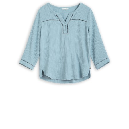 Sandwich Clothing Long Sleeve Embroidered Blouse - Blue