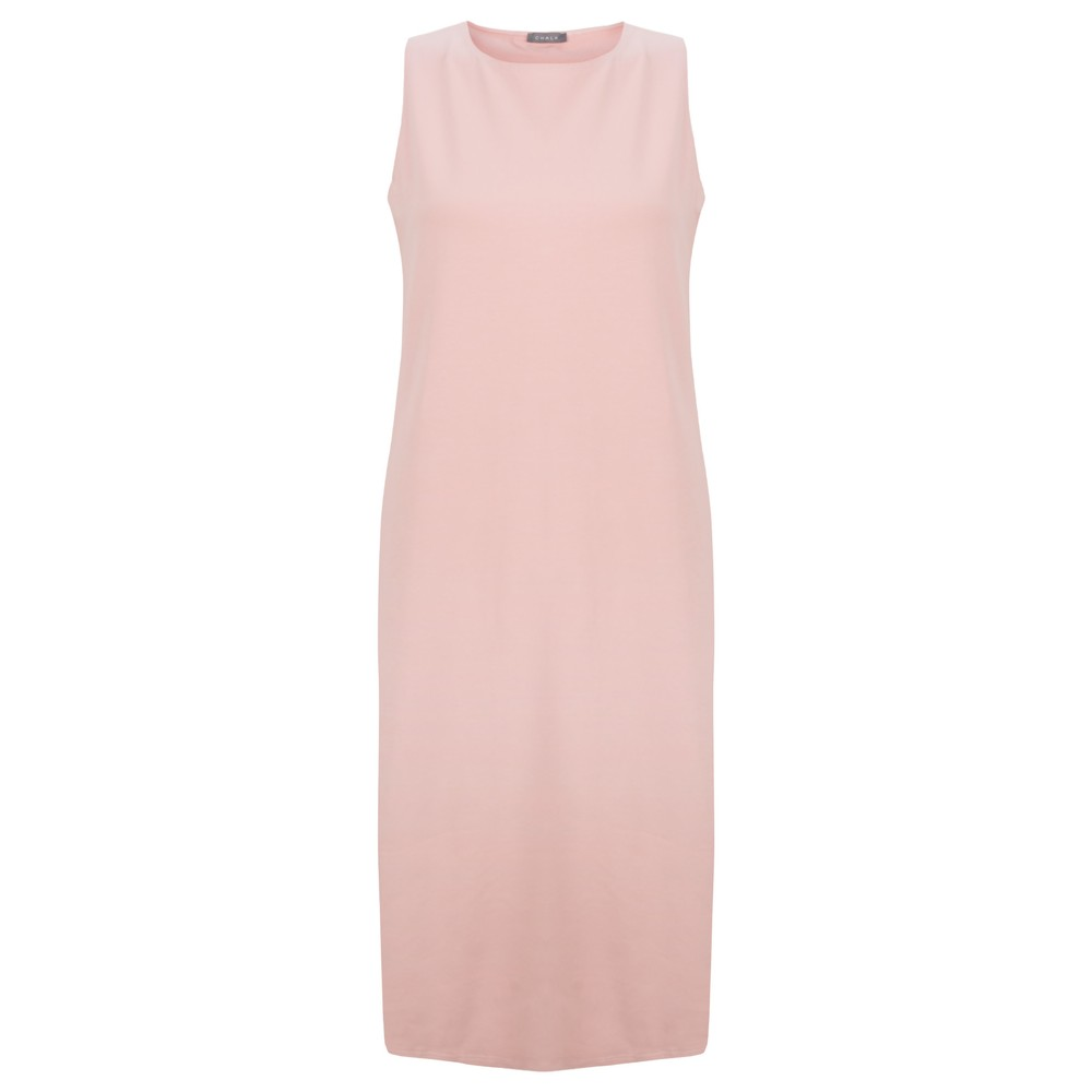 Chalk Claire Organic Jersey Fitted  Dress Dusty Pink