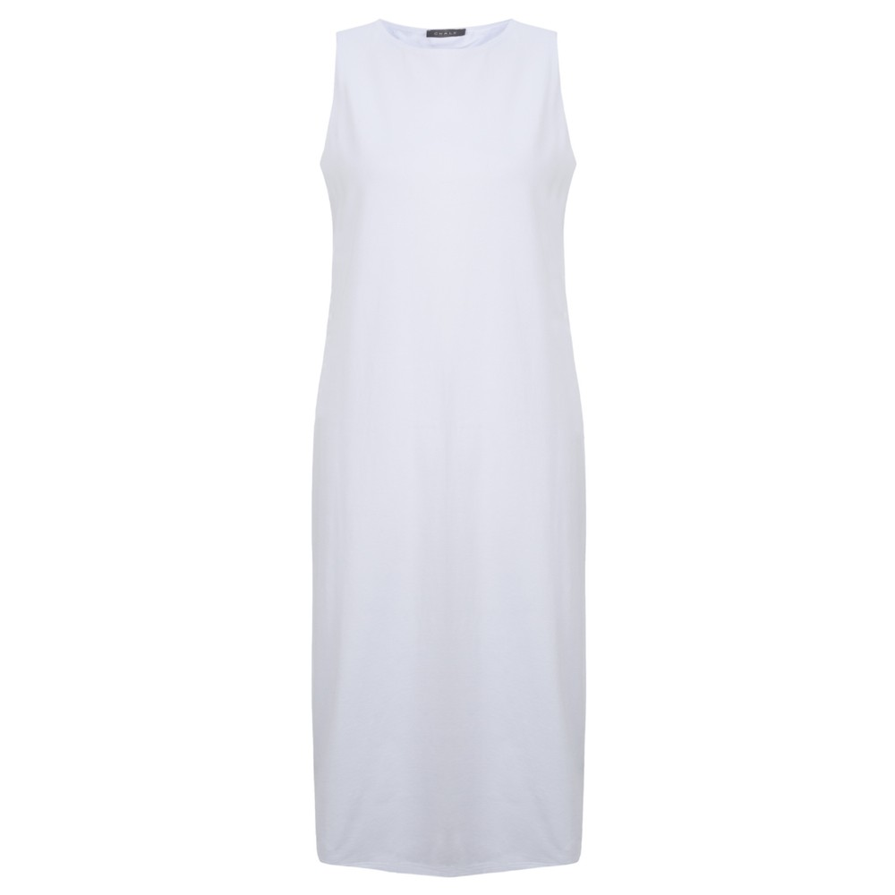 Chalk Claire Organic Jersey Fitted  Dress White
