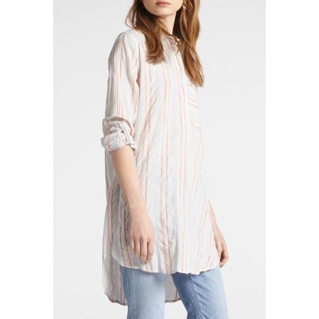 Sandwich Clothing Long Blouse With Woven Stripe - Orange