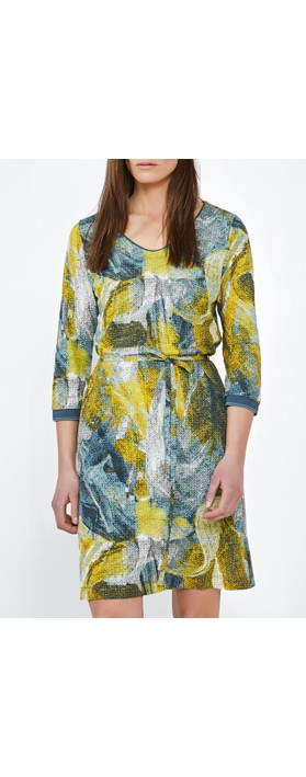 Sandwich Clothing Dress with Painted Print  Blue Shadow