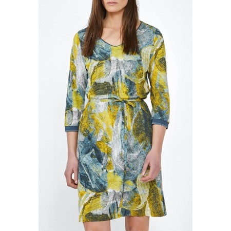 Sandwich Clothing Dress with Painted Print  - Blue