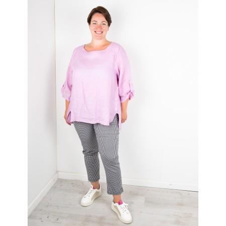 Amazing Woman Curve Elena Curve Linen Top - Purple