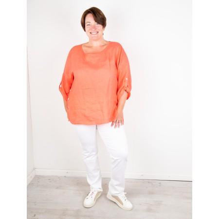 Amazing Woman Curve Elena Curve Linen Top - Orange