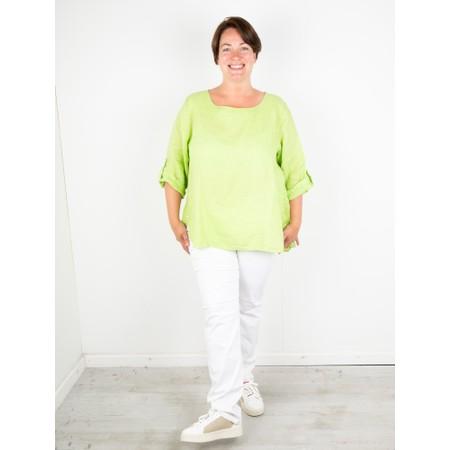 Amazing Woman Curve Elena Curve Linen Top - Green
