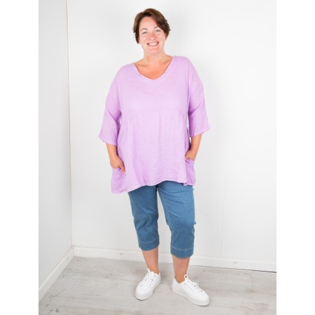 Amazing Woman Curve Tesa Curve Linen Top - Purple