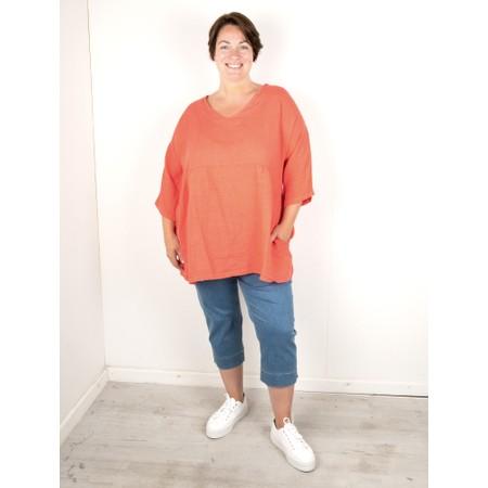Amazing Woman Curve Tesa Curve Linen Top - Orange