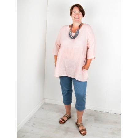 Amazing Woman Curve Tesa Curve Linen Top - Pink