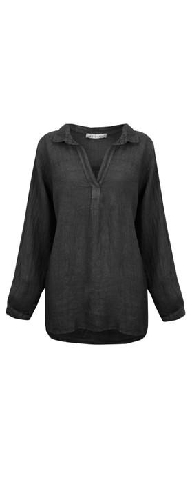 Amazing Woman Bela Long Sleeve Linen Top Black
