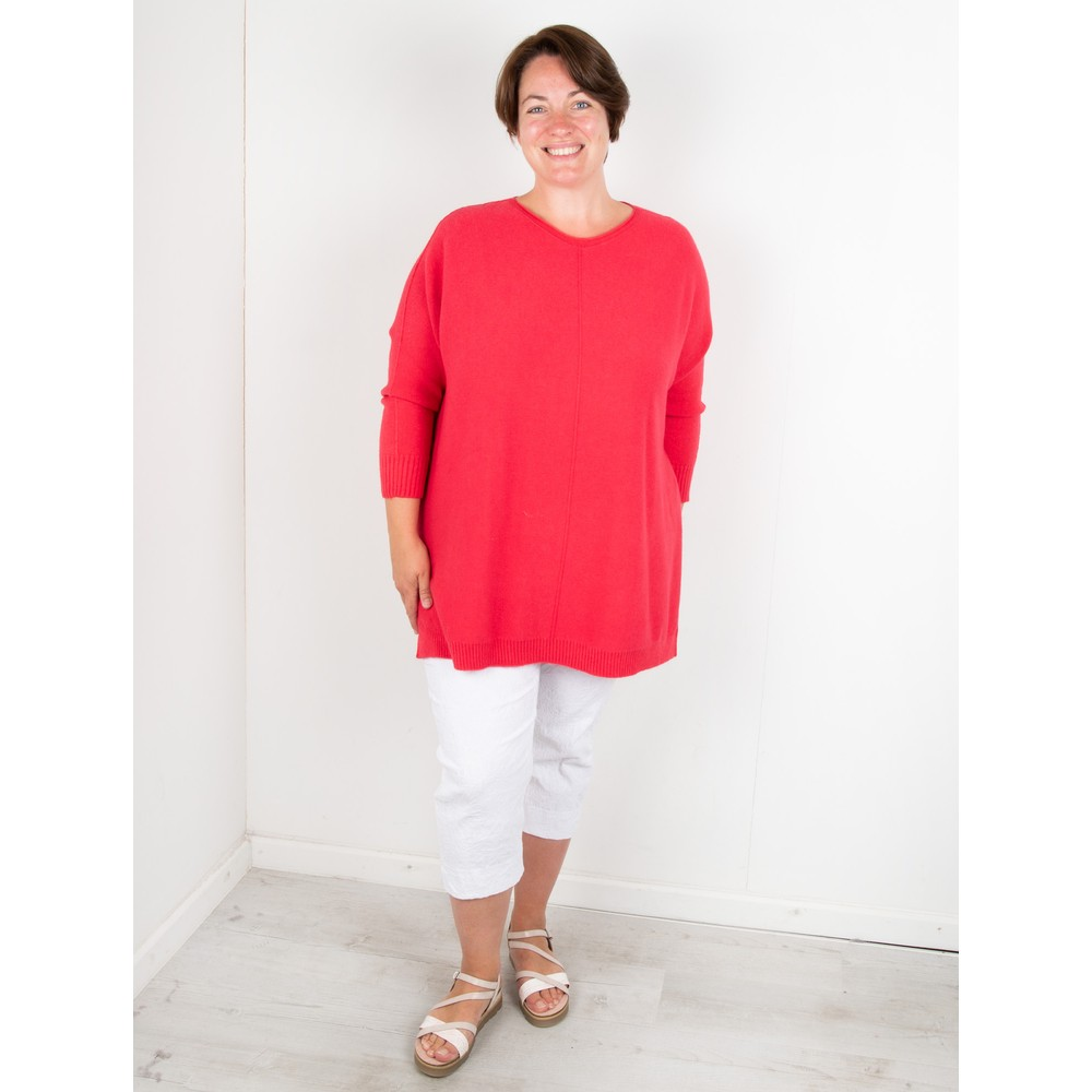 Amazing Woman Cassi X Round Neck Front Seam Knit Coral Red