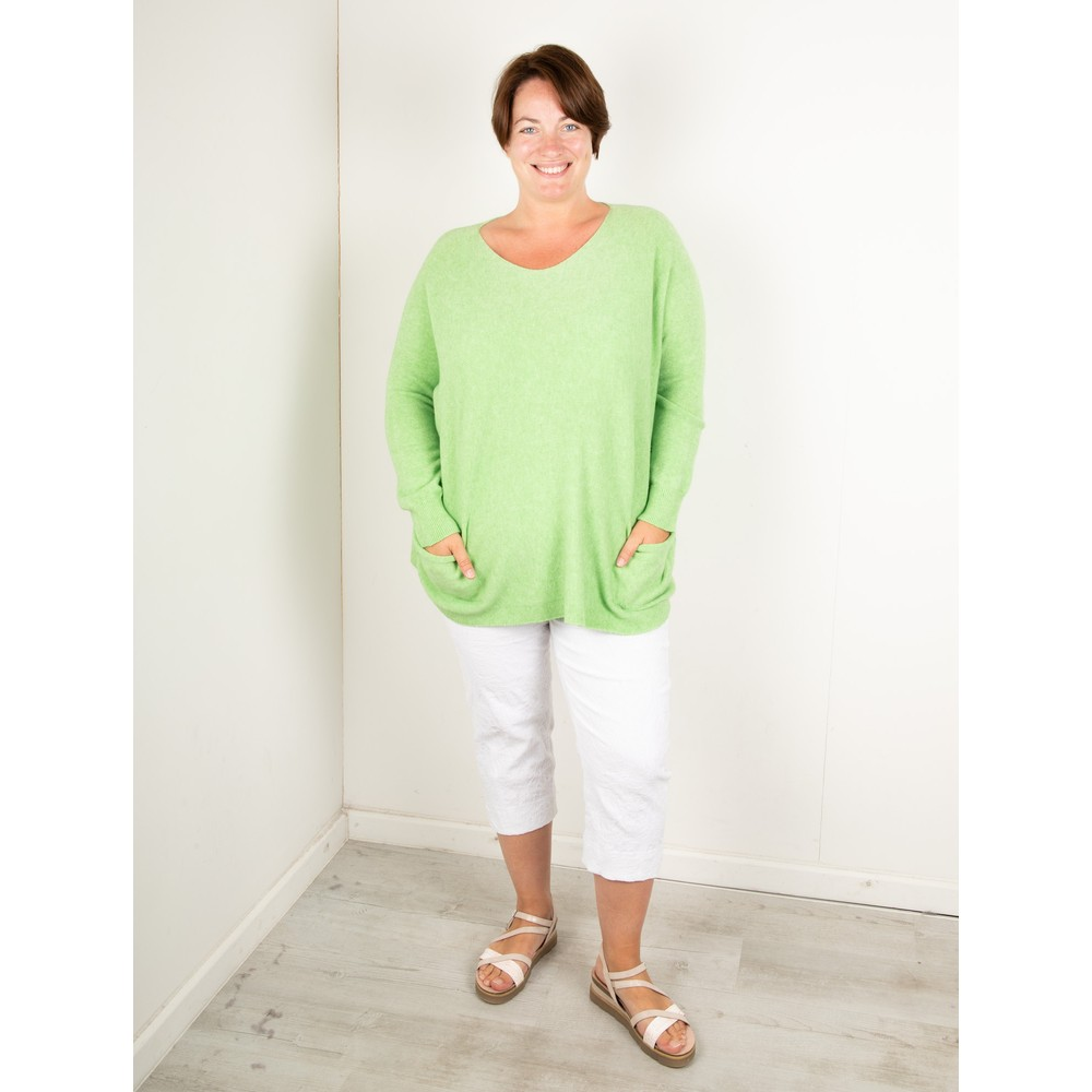 Amazing Woman Caryf X Round Neck Oversized Jumper Summer Green