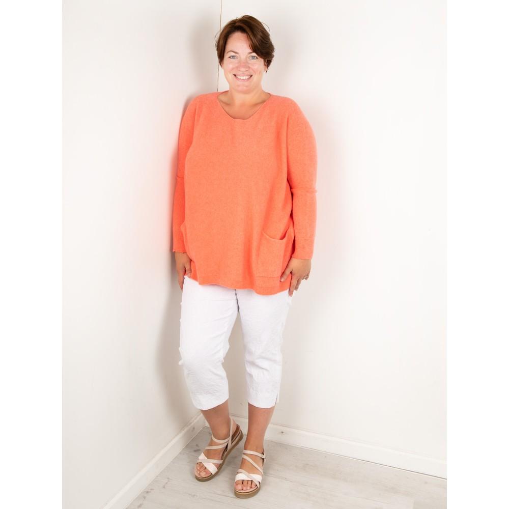 Amazing Woman Curve Caryf X Round Neck Oversized Jumper Summer Orange