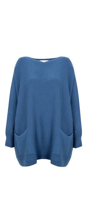 Amazing Woman Caryf X Round Neck Oversized Jumper Summer Blue