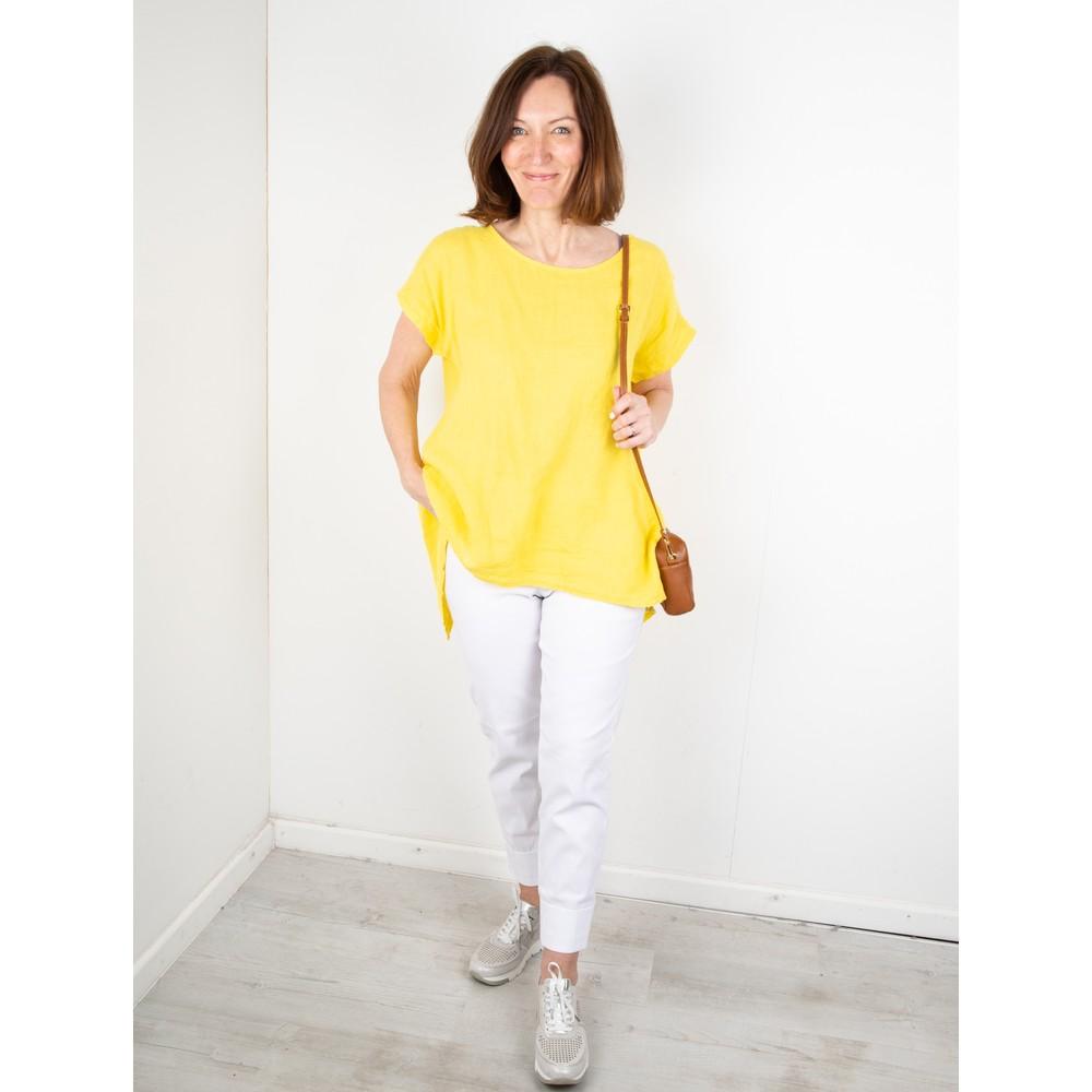 Amazing Woman Melia Short Sleeve Linen Top Lemon