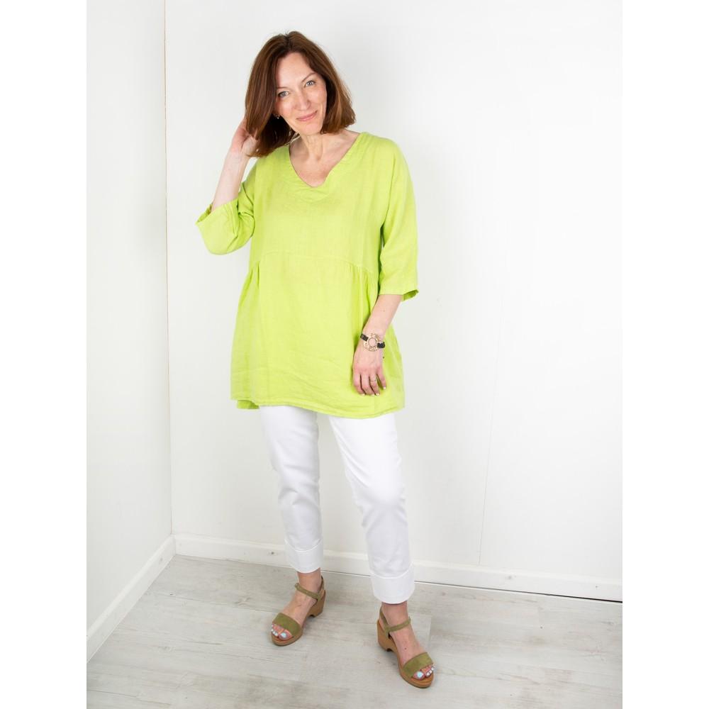 Amazing Woman Tesa V Neck Top Lime