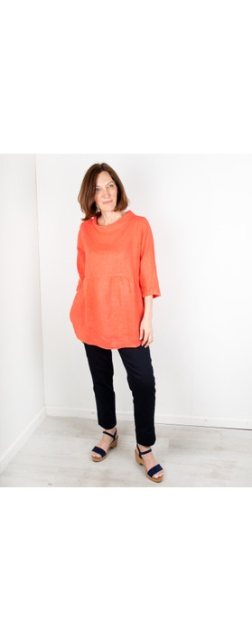 Amazing Woman Lexia Linen Top Coral Red