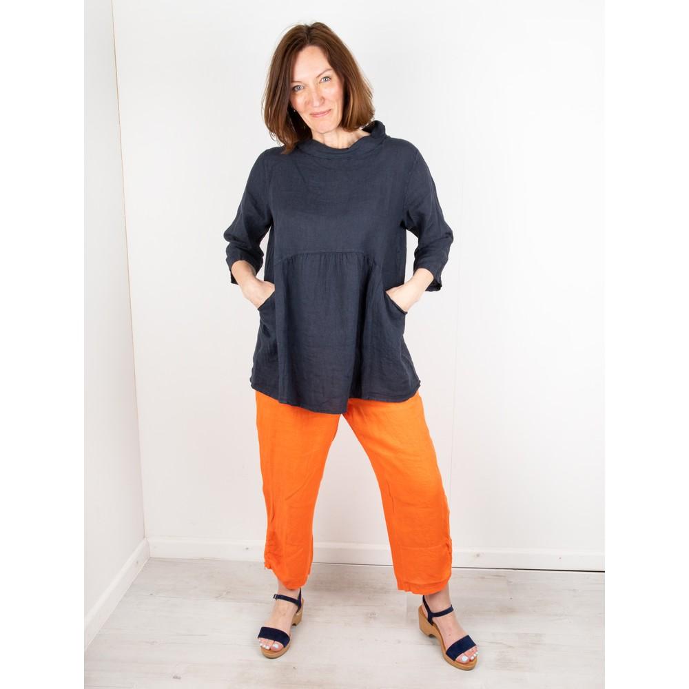 Amazing Woman Orla Cropped Linen Trouser Papaya