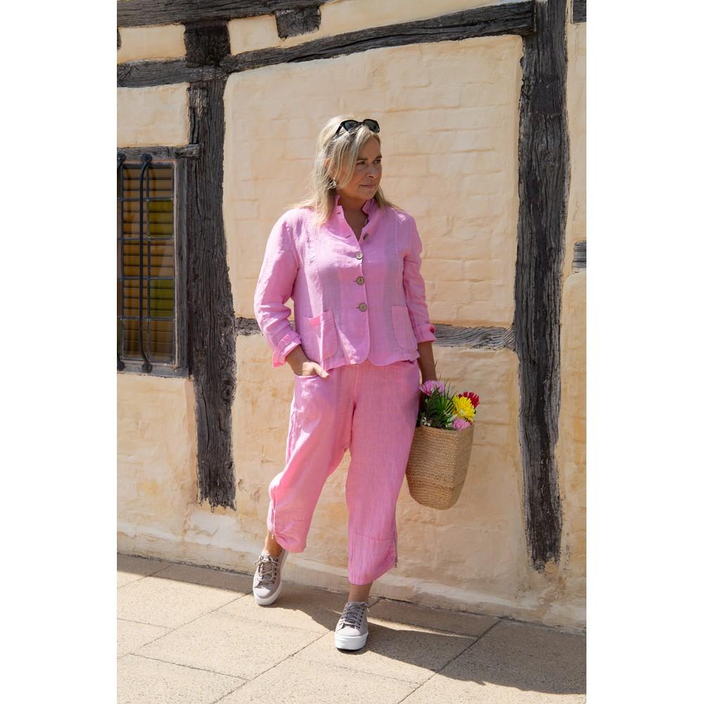 Amazing Woman Orla Cropped Linen Trouser Pink Confetti