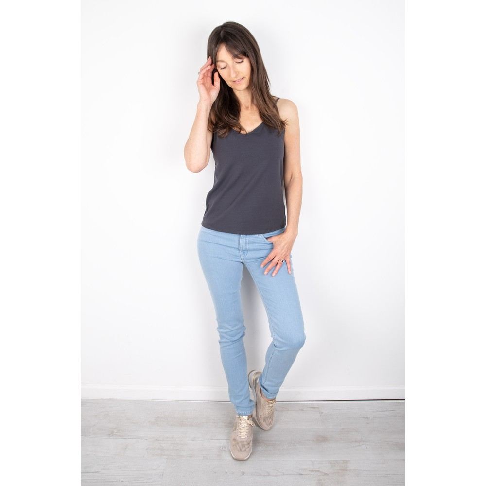 Chalk Lauren Organic Jersey Fitted Vest Top Charcoal