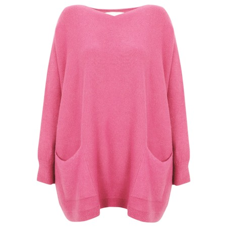 Amazing Woman Caryf X Round Neck Oversized Jumper - Pink