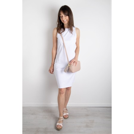 Chalk Claire Organic Jersey Fitted  Dress - White