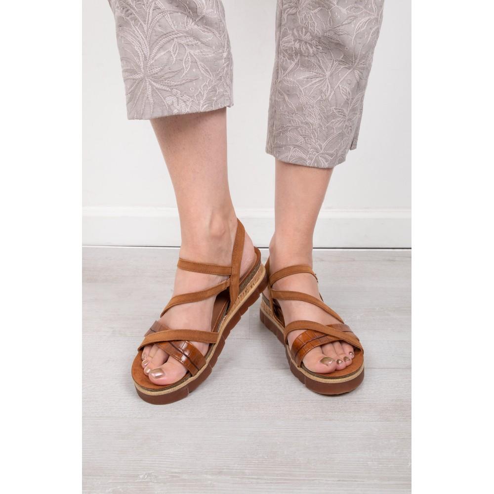 Marco Tozzi Elvo Wedge Sandal Cognac