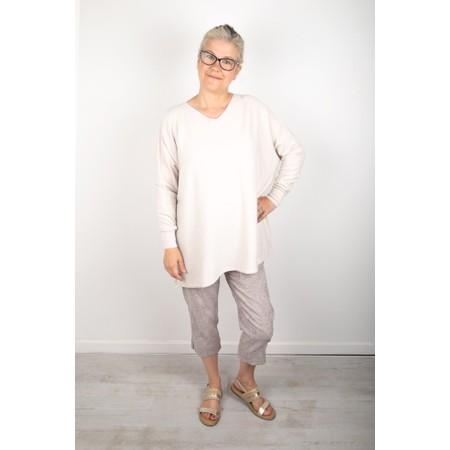 Amazing Woman Coco V Neck Oversized Lurex Knit - Off-White