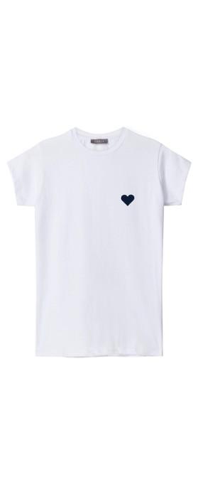 Chalk Louise Heart Top White / Navy