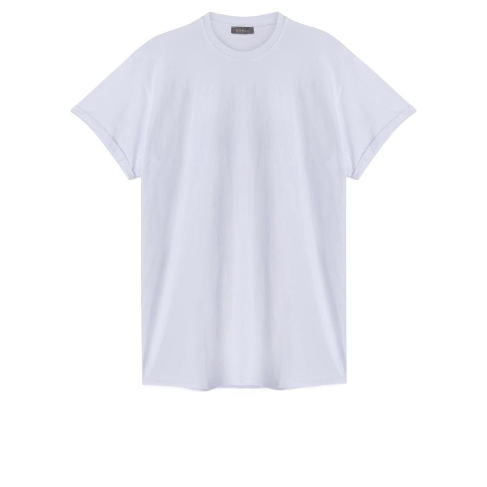 Chalk May Plain Organic Cotton Boyfriend Top White xx