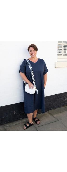 Amazing Woman Curve Tesa Curve Midi Dress Navy