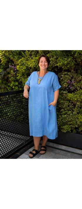 Amazing Woman Curve Tesa Curve Midi Dress Denim Blue