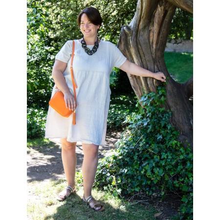 Amazing Woman Curve Lexia Curve Linen Dress - Beige