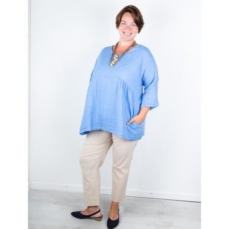 Amazing Woman Curve Tesa Curve Linen Top - Blue