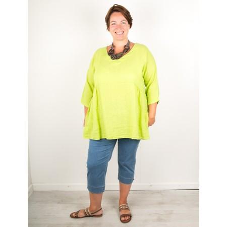Amazing Woman Curve Tesa Curve Linen Top - Green