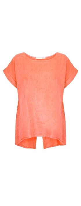 Amazing Woman Melia Short Sleeve Linen Top Papaya