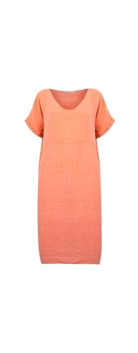 Amazing Woman Tesa Midi Papaya Linen dress Papaya