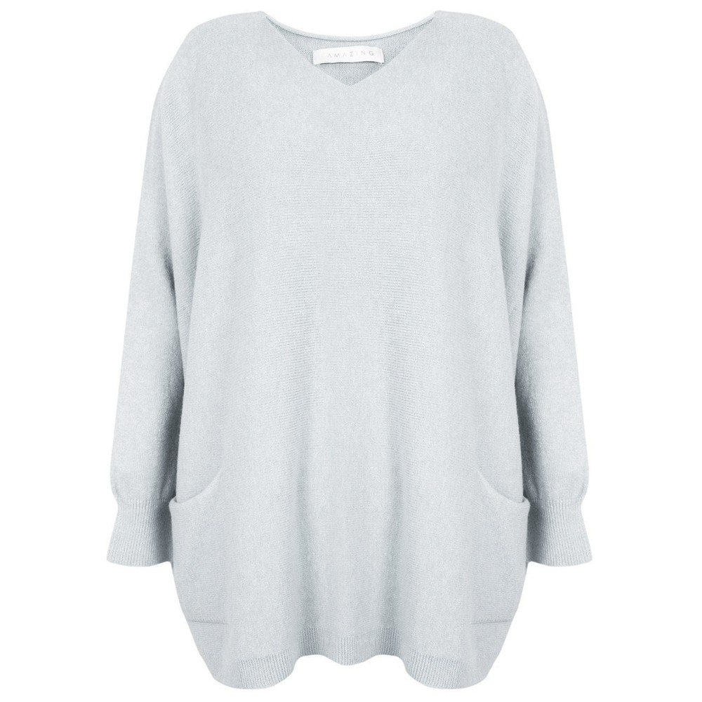 Amazing Woman Caryf X Round Neck Oversized Jumper Silver
