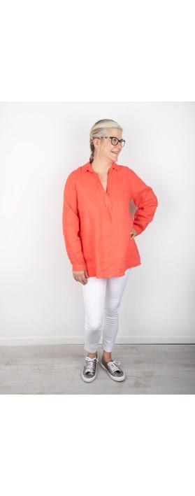 Amazing Woman Bela Long Sleeve Linen Top Coral