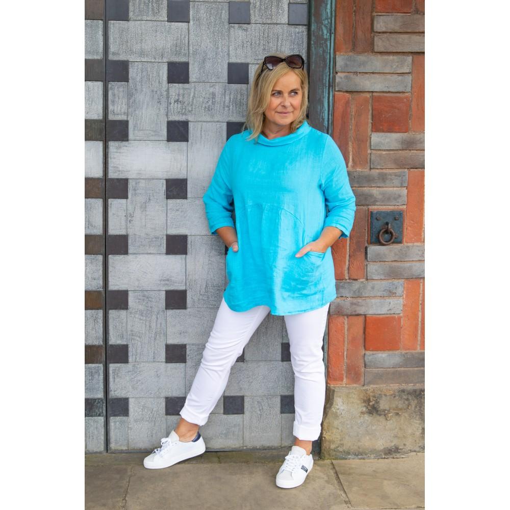 Amazing Woman Lexia Linen Top Turquoise