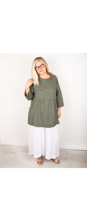 Amazing Woman Lexia Linen Top Khaki