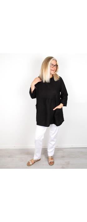 Amazing Woman Lexia Linen Top Black