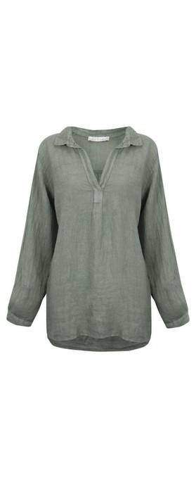 Amazing Woman Bela Long Sleeve Linen Top Khaki