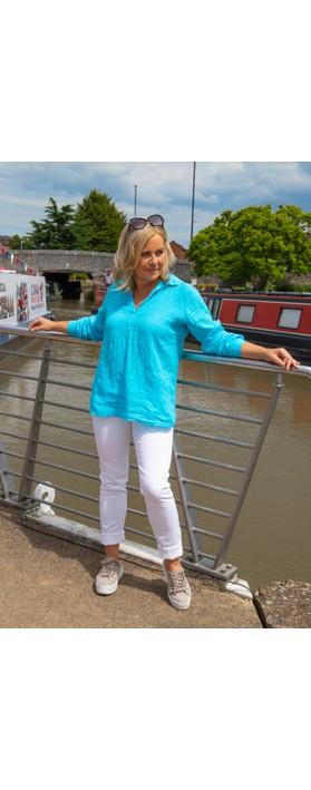 Amazing Woman Bela Long Sleeve Linen Top Turquoise